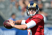 Los Angeles Rams rookie quarterback Jared Goff (16) throws a pass during the Los Angeles Rams 2016 NFL training camp football practice held on Tuesday, Aug. 2, 2016 in Irvine, Calif. (©Paul Anthony Spinelli)