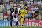 Colin Munro of Hampshire hits down the ground for a six during the Vitality T20 Blast South Group match between Hampshire County Cricket Club and Middlesex County Cricket Club at the Ageas Bowl, Southampton, United Kingdom on 20 July 2018. Picture by Dave Vokes.