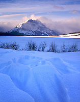 Saint Mary's Lake in winter, Glacier National Park Montana USA