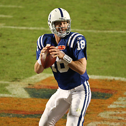 2010 February 07: Indianapolis Colts quarterback Peyton Manning (18) looks to pass during a 31-17 win by the New Orleans Saints over the Indianapolis Colts in Super Bowl XLIV at Sun Life Stadium in Miami, Florida.
