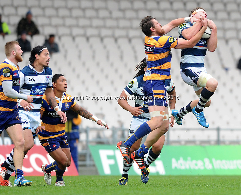 Auckland's Blake Gibson beats Bay of Plenty's Hamish Gosling to a high ball in the ITM Cup rugby match, Bay of Plenty vs Auckland, Rotorua International Stadium, Rotorua, September 13, 2014. Photo: Kerry Marshall / photosport.co.nz