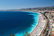 Nice, France elevated view from castle hill The crowded beach