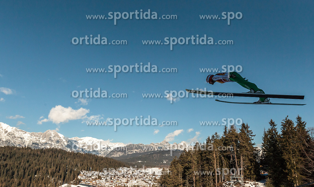 29.01.2016, Casino Arena, Seefeld, AUT, FIS Weltcup Nordische Kombination, Seefeld Triple, Skisprung, Probesprung, im Bild Fabian Riessle (GER) // Fabian Riessle of Germany competes during his Trial Jump of Skijumping of the FIS Nordic Combined World Cup Seefeld Triple at the Casino Arena in Seefeld, Austria on 2016/01/29. EXPA Pictures © 2016, PhotoCredit: EXPA/ JFK