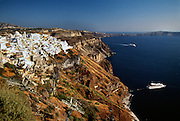 Greece, Cyclades, Santorini (Thira), Town of Fira and Port of Scala.