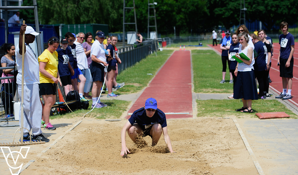 Metro Blind Sport's 2017 Athletics Open held at Mile End Stadium.  Long jump.  Luke Boulding<br /> <br /> Picture: Chris Vaughan Photography for Metro Blind Sport<br /> Date: June 17, 2017