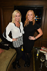 Left to right, DENISE VAN OUTEN and SARAH-JANE MEE at a party to celebrate the publication of The Stylist by Rosie Nixon held at Soho House, London on 10th February 2016.