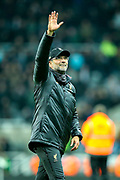 Liverpool manager Jurgen Klopp celebrates following Liverpool's victory in the Premier League match between Newcastle United and Liverpool at St. James's Park, Newcastle, England on 4 May 2019.