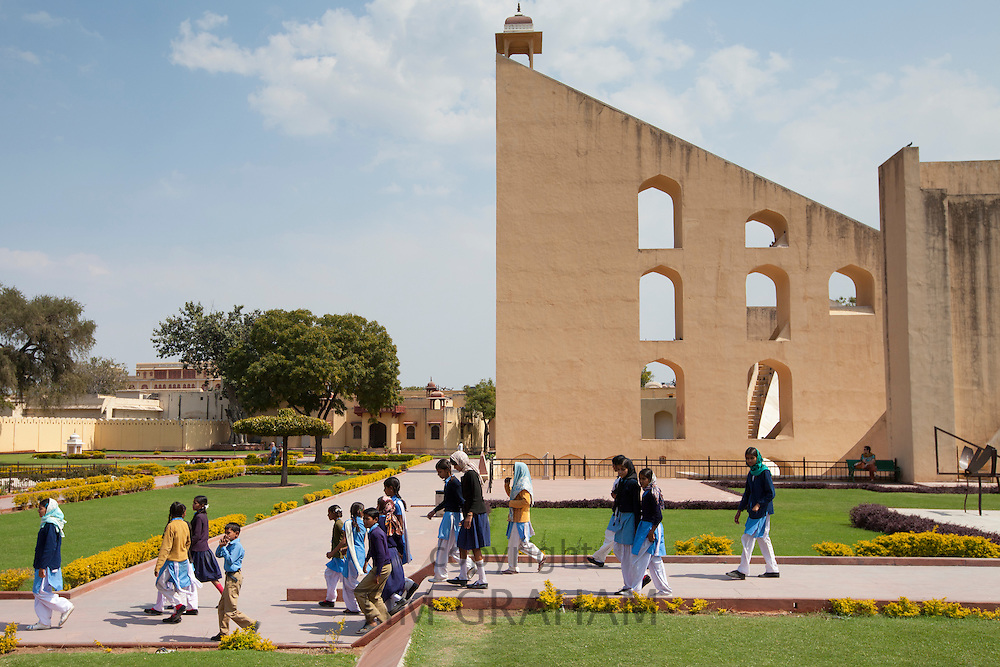 Students on a visit to The Observatory in Jaipur, Rajasthan, Northern India