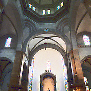 Inside the nave and under the dome of the Manila Cathedral.
