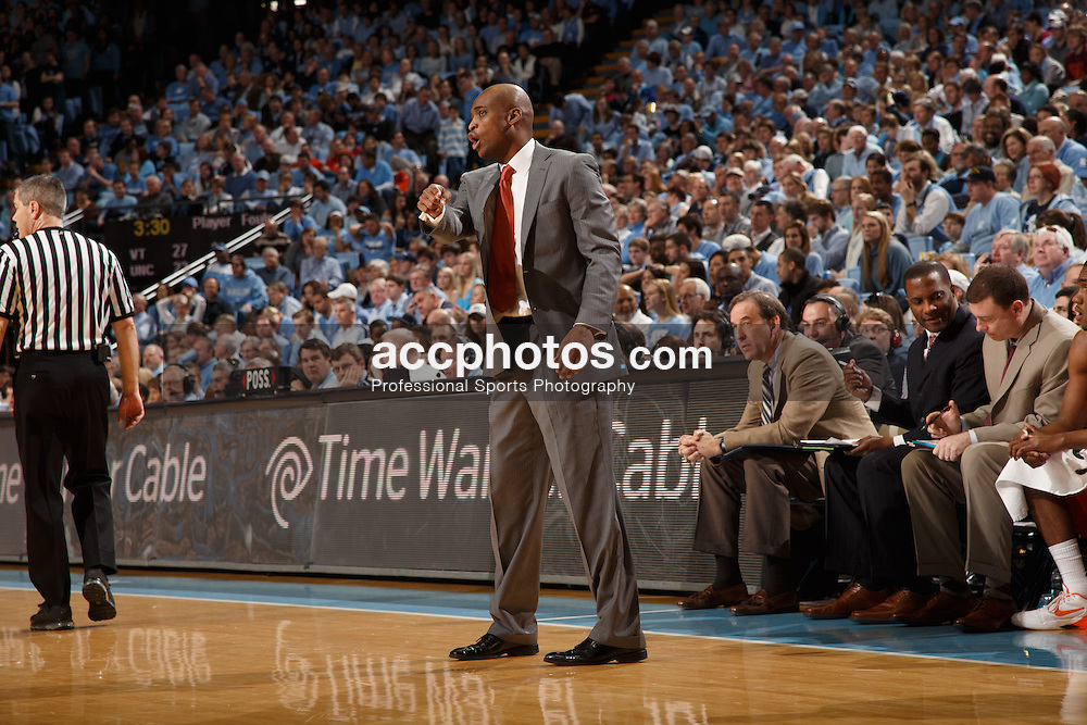 CHAPEL HILL, NC - FEBRUARY 02: Head coach James Johnson of the Virginia Tech Hokies coaches during a game against the North Carolina Tar Heels on February 02, 2013 at the Dean E. Smith Center in Chapel Hill, North Carolina. North Carolina won 72-60 in overtime. (Photo by Peyton Williams/UNC/Getty Images) *** Local Caption *** James Johnson