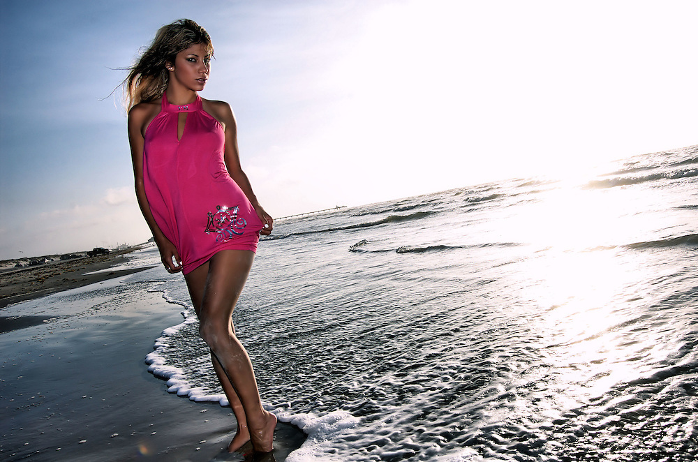 Sexy model on beach in Corpus Christi, Texas.
