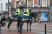 Gardai on horses, Grafton Street, Dublin, Ireland