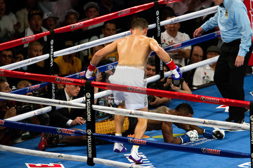 "INGLEWOOD, CA - MAY 16: Undefeated WBA middleweight champion Gennady ""GGG"" Golovkin  (33-0-0, 30 KOs) defeated Contender Willie Monroe Jr. (19-2-0, 6 KOs) by TKO. The referee stopped the bout in the sixth round, after Monroe Jr. hit the canvas for the last time. 2015 May 16. Byline, credit, TV usage, web usage or linkback must read SILVEXPHOTO.COM. Failure to byline correctly will incur double the agreed fee. Tel: +1 714 504 6870."