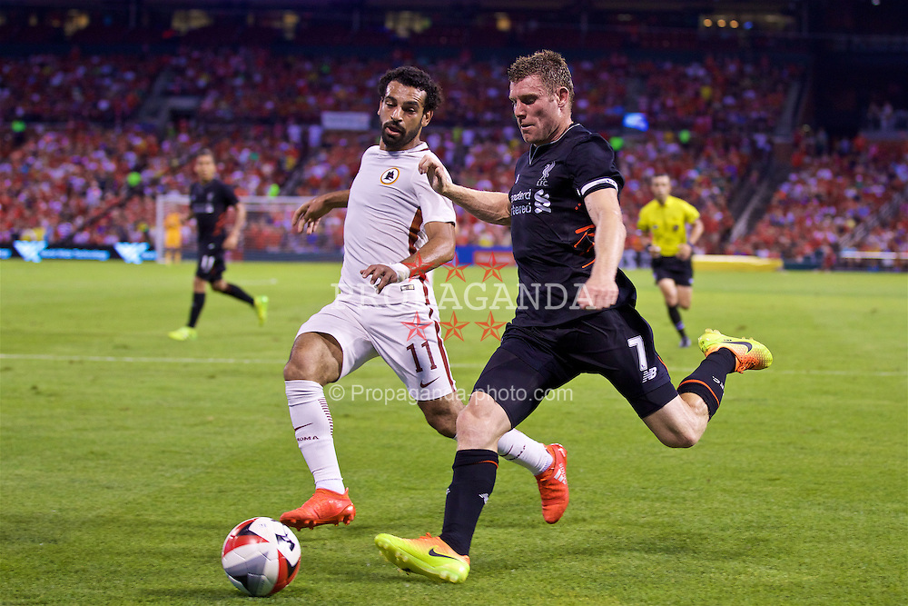 ST. LOUIS, USA - Monday, August 1, 2016: Liverpool's James Milner in action against AS Roma's Mohamed Salah during a pre-season friendly game on day twelve of the club's USA Pre-season Tour at the Busch Stadium. (Pic by David Rawcliffe/Propaganda)