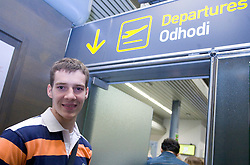 Basketball player Goran Dragic leaving his home in Slovenia and have a flight to Phoenix, USA, where he has signed a contract for Phoenix Suns Team, NBA, on September 27, 2008, in Airport Jozeta Pucnika, Brnik, Slovenia.  (Photo by Vid Ponikvar / Sportal Images)