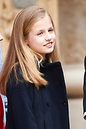 Crown Princess Leonor attended the Easter Mass at the Cathedral of Palma de Mallorca on April 16, 2017 in Palma de Mallorca, Spain.