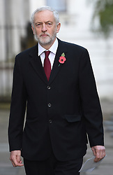 Labour leader Jeremy Corbyn walks through Downing Street on his way to the annual Remembrance Sunday Service at the Cenotaph memorial in Whitehall, central London, held in tribute for members of the armed forces who have died in major conflicts.