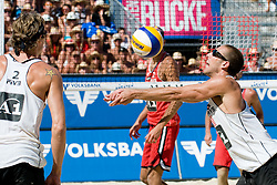 Matt Fuerbringer and Nick Lucena of USA at A1 Beach Volleyball Grand Slam tournament of Swatch FIVB World Tour 2010, final, on August 1, 2010 in Klagenfurt, Austria. (Photo by Matic Klansek Velej / Sportida)