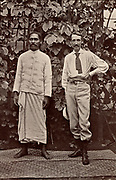 Robert Louis Balfour Stevenson (1850-1894) Scottish author, born in Edinburgh.  Stevenson in Samoa with Chief Tui Malealiifano. From 'Vailima Letters' (London, 1895), correspondence from Stevenson to Sidney Colvin 1890-1894.  Photograph.