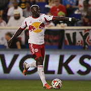 Ibrahim Sekagya, New York Red Bulls, in action during the New York Red Bulls Vs Seattle Sounders, Major League Soccer regular season match at Red Bull Arena, Harrison, New Jersey. USA. 20th September 2014. Photo Tim Clayton