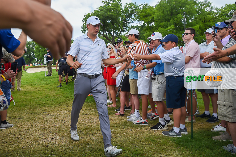 Jordan Spieth (USA) high fives fans on his way to the tee on 3 during round 3 of the 2019 Charles Schwab Challenge, Colonial Country Club, Ft. Worth, Texas,  USA. 5/25/2019.<br /> Picture: Golffile   Ken Murray<br /> <br /> All photo usage must carry mandatory copyright credit (© Golffile   Ken Murray)