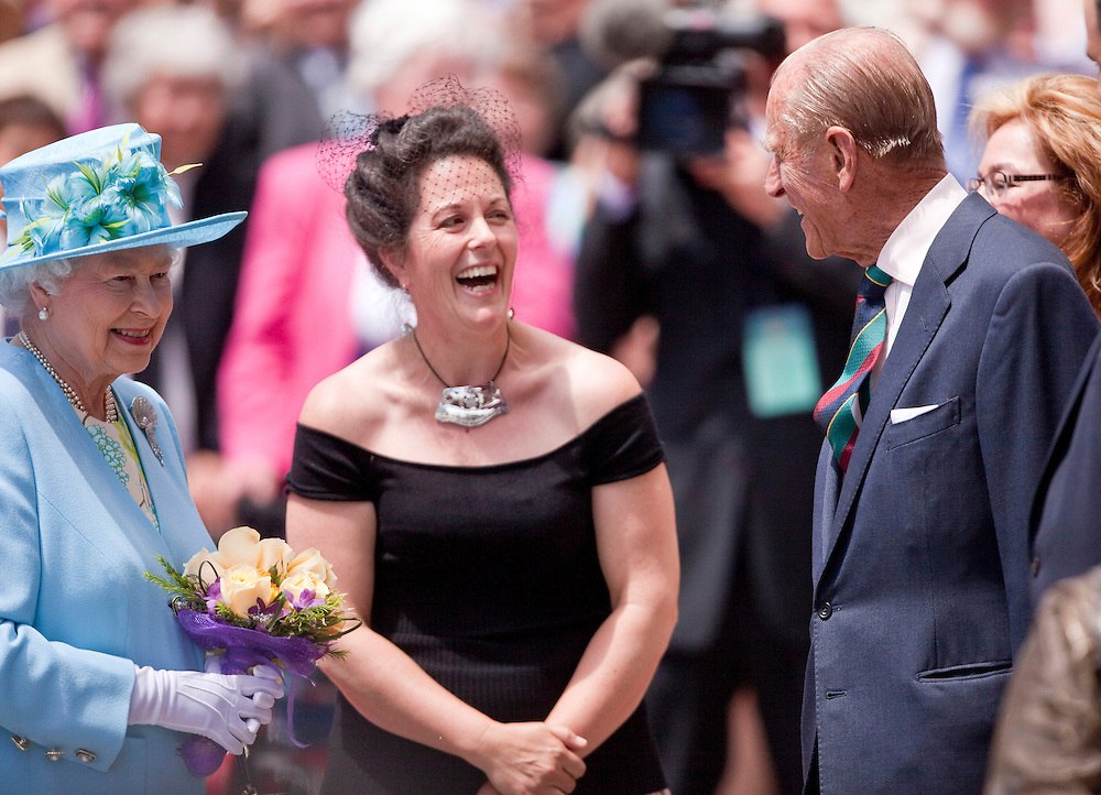 Queen Elizabeth and Prince Philip, The Duke of Edinburgh, speak with dignitaries at the National Arts Centre in Ottawa, Canada, June 30, 2010. The Queen is on a 9 day visit to Canada. <br /> AFP/GEOFF ROBINS/STR