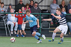 NEWPORT, WALES - Thursday, August 4, 2016: South Wales Academy Boys' William Rickard [L] and Central Development Boys' Jack Walters [R] during the Welsh Football Trust Cymru Cup 2016 at Newport Stadium. (Pic by Paul Greenwood/Propaganda)<br /> <br /> South Boys (Sky Blue) v Central Boys (Stripes)<br /> William Rickard Jack Walters