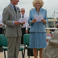 "Falmouth , Cornwall July 11th TRH The Duke and Duchess of Cornwall  alight from ""The Duchess of Cornwall"" ferry on the Duke of Cornwall Pier and attend a rededication service for the relocated St Nazaire Raid Memorial and meet families and veterans"
