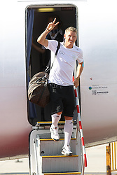 15.07.2014, Flughafen, München, GER, FIFA WM, Empfang der Weltmeister in Deutschland, Finale, im Bild Bastian Schweinsteiger #7 (Deutschland) kommt aus der Maschine // during Celebration of Team Germany for Champion of the FIFA Worldcup Brazil 2014 at the Flughafen in München, Germany on 2014/07/15. EXPA Pictures © 2014, PhotoCredit: EXPA/ Eibner-Pressefoto/ Kolbert<br /> <br /> *****ATTENTION - OUT of GER*****
