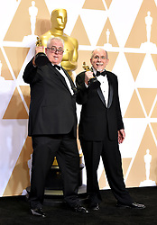 March 4, 2018 - Los Angeles, California, USA - 3/4/18.Richard King and Alex Gibson winners of the award for Best Sound Editing for ''Dunkirk'' at the 90th Annual Academy Awards (Oscars) presented by the Academy of Motion Picture Arts and Sciences..(Hollywood, CA, USA) (Credit Image: © Starmax/Newscom via ZUMA Press)
