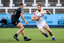 James Short of Exeter Braves takes on Adam Radwan of Newcastle Falcons A-Team - Mandatory by-line: Robbie Stephenson/JMP - 06/05/2019 - RUGBY - Kingston Park Stadium - Newcastle upon Tyne, England - Newcastle Falcons 'A' v Exeter Braves - Premiership Rugby Shield Semi-Final
