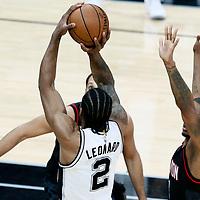 01 May 2017: San Antonio Spurs forward Kawhi Leonard (2) takes a jump shot during the Houston Rockets 126-99 victory over the San Antonio Spurs, in game 1 of the Western Conference Semi Finals, at the AT&T Center, San Antonio, Texas, USA.