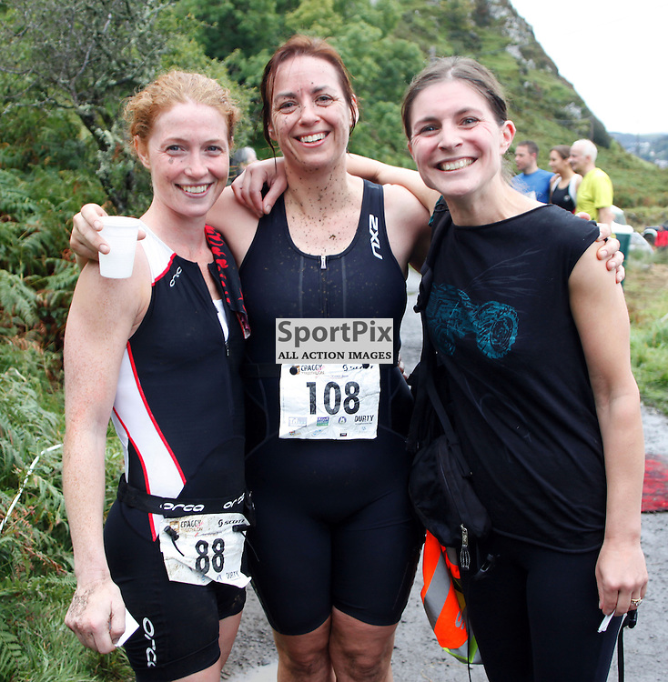 Lynsey Munro,Nicola Milligan, and Suzannah Drummond all from Glasgow  delighted to finish  in the craggy Island triathlon held on the Island of Kerrera as first part of the Craggy Island triathlon in its 2nd year with over 400 entrants the competition having to be spread over 2 days ..Kevin McGllynn(c)  | StockPix.eu