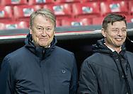 Landstræner Åge Hareide og assistenttræner Jon Dahl Tomasson (Danmark) i fint humør før EM Kvalifikationskampen mellem Danmark og Gibraltar den 15. november 2019 i Telia Parken (Foto: Claus Birch).