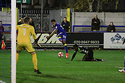 AFC Wimbledon striker Lyle Taylor during the The Emirates FA Cup 1st Round Replay match between AFC Wimbledon and Bury at the Cherry Red Records Stadium, Kingston, England on 15 November 2016. Photo by Stuart Butcher.