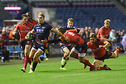 Duhan van der Merwe breaks through the defence during the Guinness Pro 14 2018_19 match between Edinburgh Rugby and Southern Kings at BT Murrayfield Stadium, Edinburgh, Scotland on 5 January 2019.