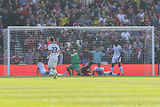 Middlesbrough forward David Nugent scores for Middlesbrough during the Sky Bet Championship match between Middlesbrough and Leeds United at the Riverside Stadium, Middlesbrough, England on 27 September 2015. Photo by Simon Davies.
