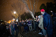 Supporters of President-Elect Donald J. Trump pop a champagne bottle while celebrating the election results in front of the White House in Washington early on the morning of Nov. 9, 2016. After a long and bitter campaign, President-Elect Donald J. Trump, republican nominee, was elected to be the 45th president.