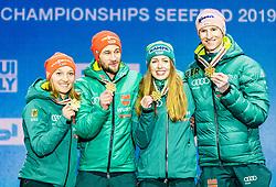 02.03.2019, Seefeld, AUT, FIS Weltmeisterschaften Ski Nordisch, Seefeld 2019, Siegerehrung, im Bild Weltmeister und Goldmedaillengewinner Katharina Althaus (GER), Markus Eisenbichler (GER), Juliane Seyfarth (GER) // World champion and Gold medalist Katharina Althaus Markus Eisenbichler Juliane Seyfarth Karl Geiger of Germany during the winner Ceremony for the FIS Nordic Ski World Championships 2019. Seefeld, Austria on 2019/03/02. EXPA Pictures © 2019, PhotoCredit: EXPA/ Stefan Adelsberger