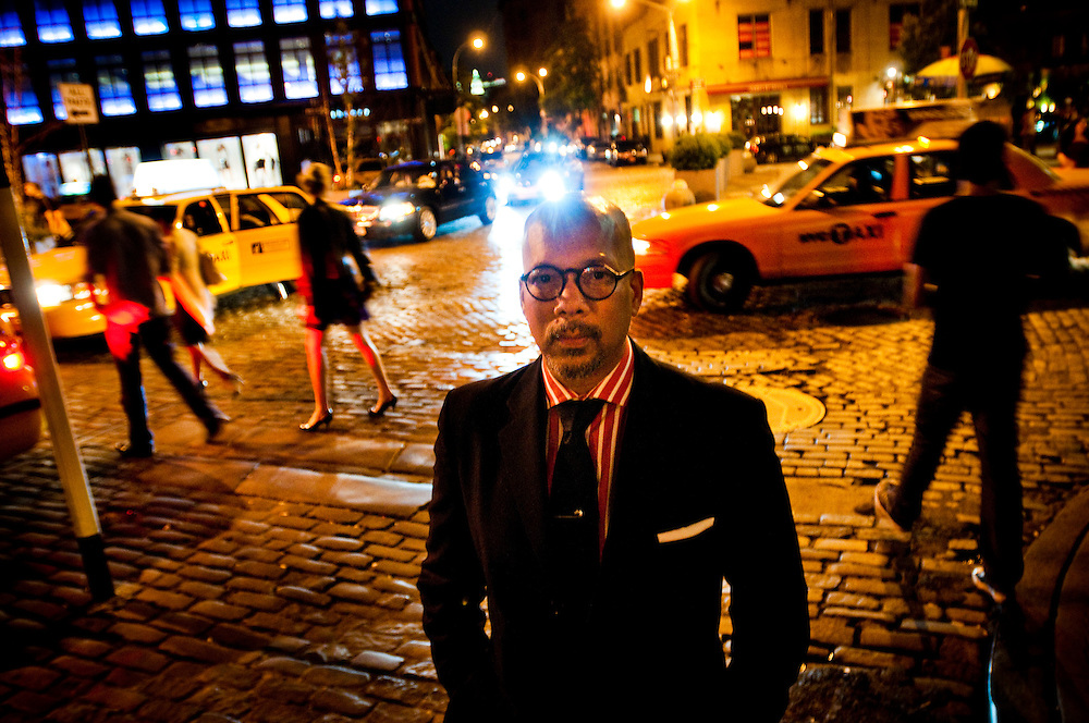 Frans Nieuwendam has worked the club scene in New York for many years and is one of the most famous doormen in the city. Here photographed in the Meatpacking District, where he used to work at the club Bijoux...Photographer: Chris Maluszynski /MOMENT