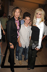Left to right, STEVE TYLER his son TAJ TYLER and ERIN BRADY at the M.A.C. Viva Glam party featuring a performance by Dita Von Teese of 'Lipteese' held at the Bloomsbury Ballroom, Victoria House, Bloomsbury Square, London on 27th June 2007.<br />