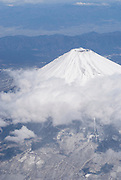 Mount Fuji viewed from a commercial airlines flight.