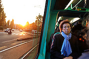 Milano, il sindaco Letizia Moratti intervistata da Isabella Bossi Fedrigotti sul tram 14 , Milan city Mayor