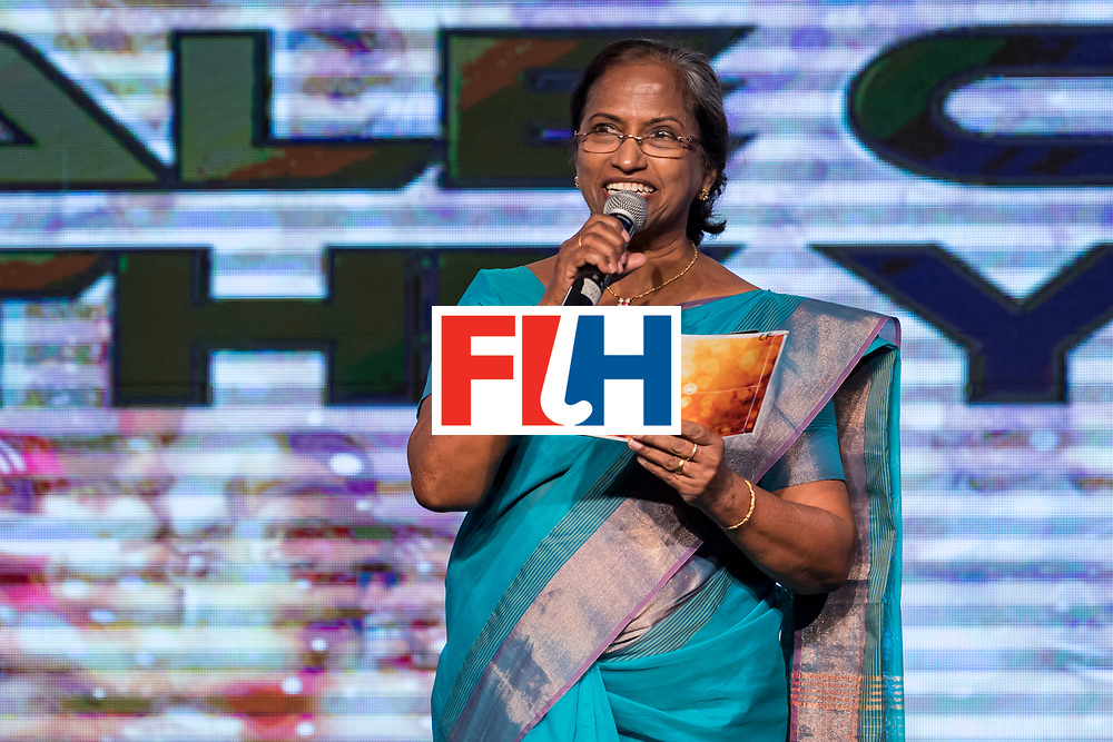 CHANDIGARH, INDIA - FEBRUARY 23: Mariamma Koshy, President of Hockey India speaks during the FIH Hockey Stars Awards 2016 at Lalit Hotel on February 23, 2017 in Chandigarh, India. (Photo by Ali Bharmal/Getty Images for FIH)