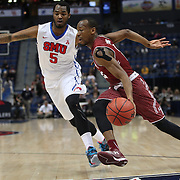 Will Cummings, (right), Temple, drives past Markus Kennedy, SMU, during the Temple Vs SMU Semi Final game at the American Athletic Conference Men's College Basketball Championships 2015 at the XL Center, Hartford, Connecticut, USA. 14th March 2015. Photo Tim Clayton