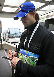 Marjan Manfreda writes a postcard at Slovenian National team packing and going from Citadel Hotel to the Halifax airport, when they finished with games at IIHF WC 2008 in Halifax, on May 11, 2008, Canada. (Photo by Vid Ponikvar / Sportal Images)