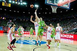 Luka Zoric of Croatia vs Uros Slokar of Slovenia during basketball match between Croatia and Slovenia at Day 1 in Group C of FIBA Europe Eurobasket 2015, on September 5, 2015, in Arena Zagreb, Croatia. Photo by Vid Ponikvar / Sportida