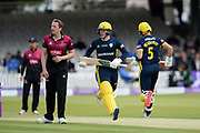 Tom Alsop and Joe Weatherley of Hampshire scoring a run off the bowling of Josh Davey during the Royal London One-Day Cup final  between Somerset County Cricket Club and Hampshire County Cricket Club at Lord's Cricket Ground, St John's Wood, United Kingdom on 25 May 2019.