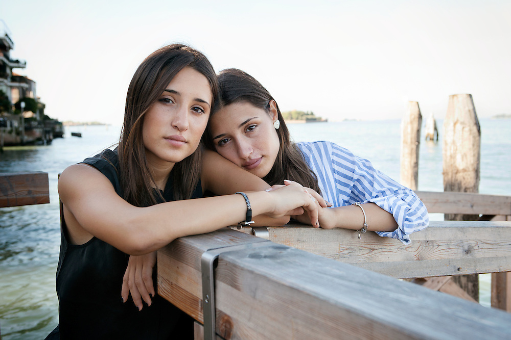"Venice Lido, Italy, September 6, 2016. Marianna e Angela Fontana, young sisters and actresses, main characters in the movie ""Indivisibili"" by Edoardo De Angelis, presented at the 73rd edition of the Venice Film Festival for Le Giornate degli Autori/Venice Days."