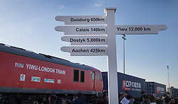 © Licensed to London News Pictures. 18/01/2017. London, UK. A sign noting the route of first direct rail freight train from China is seen as it arrives at Barking Rail Freight Terminal east of London. The new service set off from China on the 3rd of January this year. London is now the 15th European city to join what the Chinese government calls the New Silk Route. Photo credit: Peter Macdiarmid/LNP
